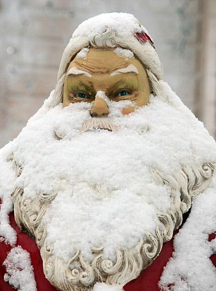Santa Covered in Snow And Ice
