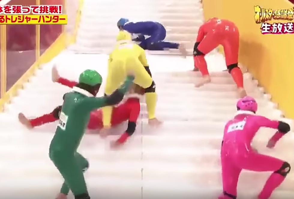 japanese game show slippery stairs is hilarious